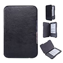 """Kindle Keyboard PU Leather Case Smartshell Cover Book Style for Amazon Kindle 3rd Generation (2010) with Keyboard & 6"""" Display Black"""