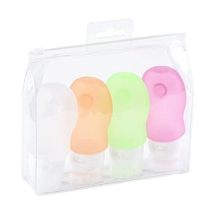 Rightwell Conjunto 4*60ml Silicona Viajar Botellas Compresible Y Recargable Viajar Contenedores Envase Cosmético Botella