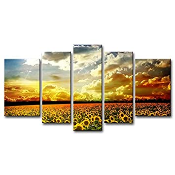 Canvas Print Wall Art Painting For Home Decor Beautiful Yellow Sunflowers  Colourful Sky Background Golden Sunset Part 70