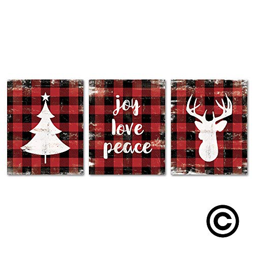 SUMGAR Rustic Wall Prints and Posters Christmas Decor Red Black Buffalo Check Plaid Background, 8x10 Unframed]()