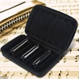 Harmonica Cases Storage Case PU Leather Black Harmonica Zippered Carrying Case Storage Bag for 7 Harmonicas