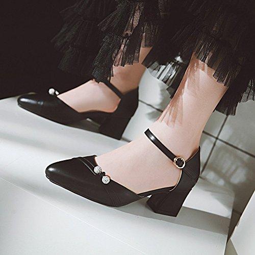 Charm Foot Womens Comfort Chunky Mid Heel Ankle Strap DOrsay Shoes Black YB6ykIK