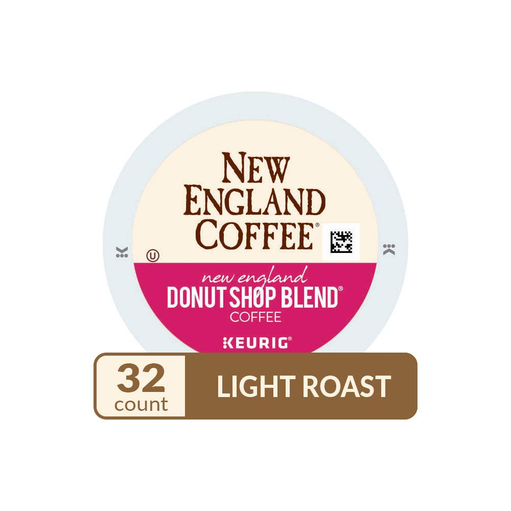 New England Coffee Single Serve K Cup, New England Donut Shop Blend, 32Count