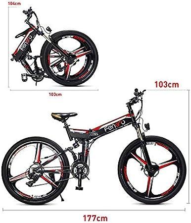 Link Co 26 Pulgadas Grasa neumático Bicicleta eléctrica 48 V 10.4 Nieve Bicicleta eléctrica Shimano 21 Velocidad Beach Cruiser Bicicleta eléctrica batería de Litio Frenos de Disco hidráulico,Black: Amazon.es: Deportes y aire libre