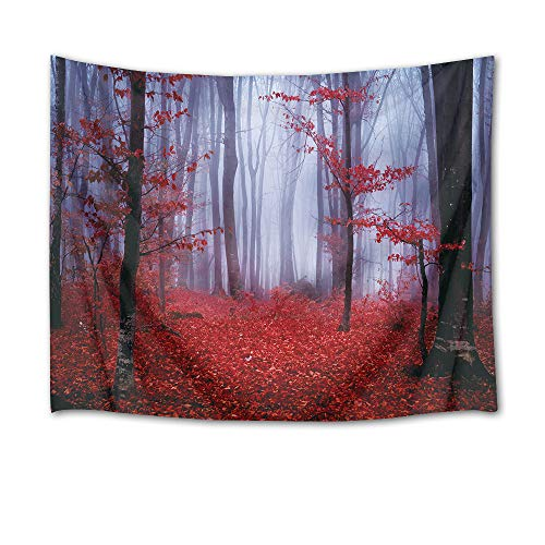 HVEST Autumn Tapestry Halloween Tapestry Wall Hanging Trees with Red Leaves in Haunted Forest Wall Blankets for Bedroom Living Room Dorm Decor,80Wx60H inches
