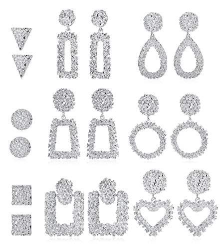- LOYALLOOK 9Pairs Statement Drop Earrings for Women Girls Large Vintage Metal Crystal Punk Bohemian Geometric Dangle Earrings Silver Tone