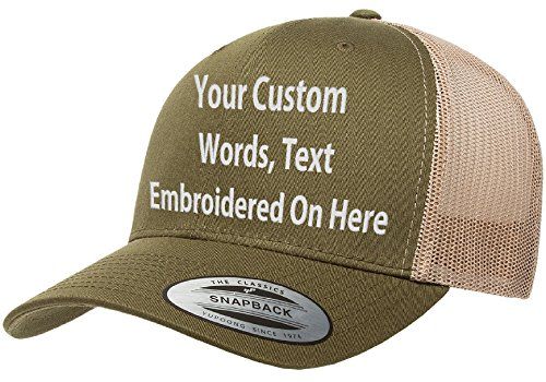 Custom Trucker Hat Yupoong 6606 Embroidered Your Own Text Curved Bill Snapback (Moss/Khaki Trucker)