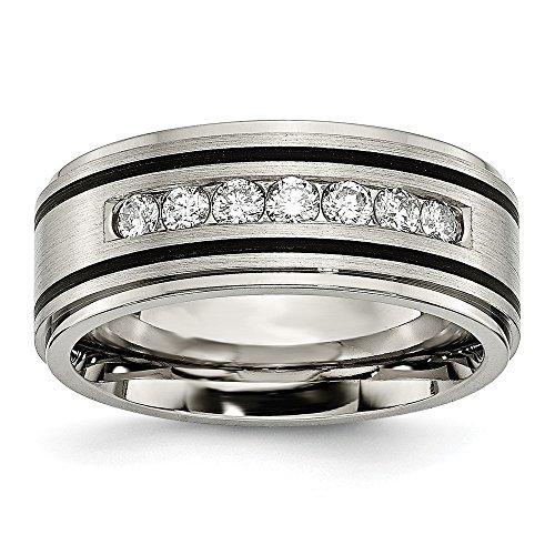 Titanium Polished Brushed Enameled 1/2ct Tw. Diamond 9mm Band Ring - Size - Diamond Enamel Bands