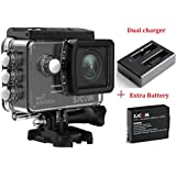 SJCAM SJ5000X KitsIncluding Extra Battery,Dual Slot Charger SJ5000X Elite WiFi 4K 24fps 2K30fps Gyro Sports DV 2.0 LCD NTK96660 Diving 30m Waterproof Action Camera (Black)
