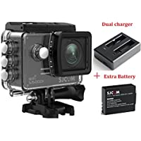 SJCAM SJ5000X KitsIncluding Extra Battery,Dual Slot Charger SJ5000X Elite WiFi 4K 24fps 2K30fps Gyro Sports DV 2.0 LCD NTK96660 Diving 30m Waterproof Action Camera (Black)