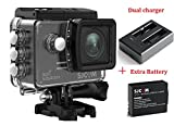 SJCAM SJ5000X Kits{Including Extra Battery,Dual Slot Charger} SJ5000X Elite WiFi 4K 24fps 2K30fps Gyro Sports DV 2.0 LCD NTK96660 Diving 30m Waterproof Action Camera (Black)