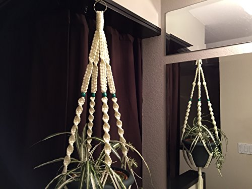 Macrame Plant Hanger IVORY 4 GREEN BEADS Made in USA
