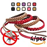 Original Kinven Mosquito Repellent Bracelet Natural DEET FREE Insect Repellent Bands, Mosquito Killer up to 360Hrs Protection Outdoor and Indoor, for Adults & Kids, 4 bracelets, Color: Red/Brown