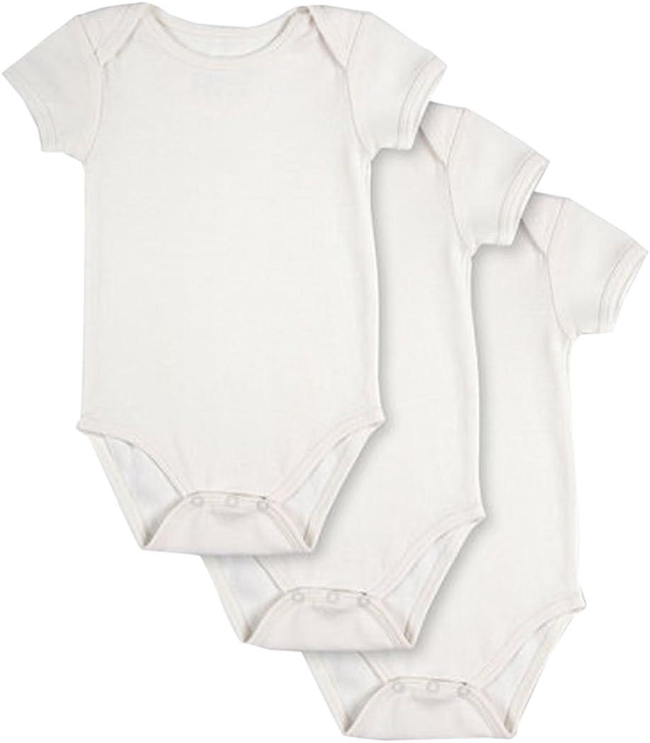 Pact Baby 3-Pack 100% Organic Cotton Short Sleeve Bodysuit   White