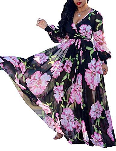 Surplice Chiffon Dress (Akmipoem Ladies Flower Print Maxi Dresses Summer Casual Deep V Neck Long Sleeve Empire Waist Chiffon Long Dress Black S)