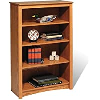 Pemberly Row 4 Shelf Wood Bookshelf in Oak