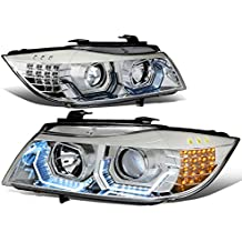 For BMW 3-Series E90 3D Crystal Halo Angle Eye Projector Headlight/Lamps (Chrome)