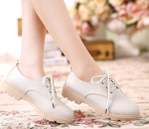 Chaussures Carré à Ville de Femme Beige Lacets Aisun Derbies Vintage Talon qwxZ8EHxgA
