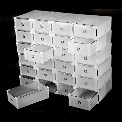 Genuinestar 24 Zapatos Cajas Cartón Cajas para Zapatos - Zapatero apilable Transparente con Tapa: Amazon.es: Hogar
