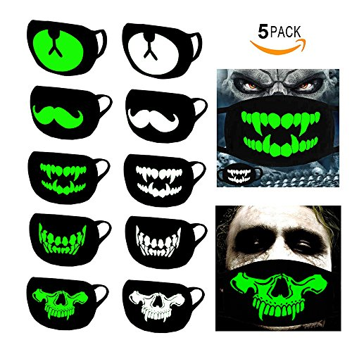 Kyson Glow in Dark Luminous Mouth Mask Dustproof Muffle Kpop Face Mask - Best Halloween Christmas Birthday Gift Cycling Party Cosplay -Unisex Women Men Cotton Half Mouth (Half Bear Halloween)