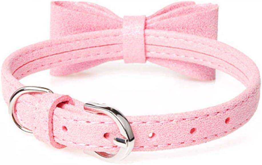 Pink Kitten Collar Velvet Cat Collar with Bowknot Adjustable Cute Necklace Bow Tie Collar for Cat Kitten Kitty Dog Puppy