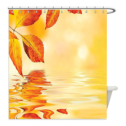 [Liguo88 Custom Waterproof Bathroom Shower Curtain Polyester Burnt Orange Decor Autumn Maple Leaves Shadow On The Water With Mystic Magical Sun View Sadness Art Decor Golden Orange Decorative bathro] (Sadness Costume Ideas)