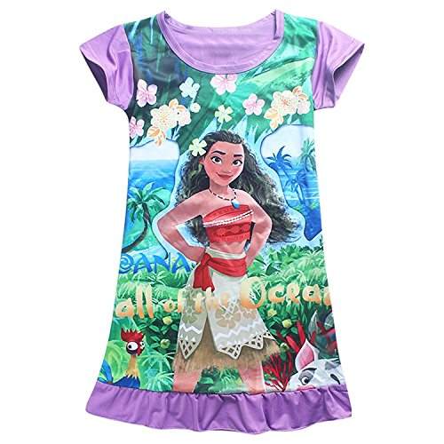 Aovclkid Moana Comfy Loose Fit Pajamas Girls Printed Princess Dress  100 2 3Y  Purple 2