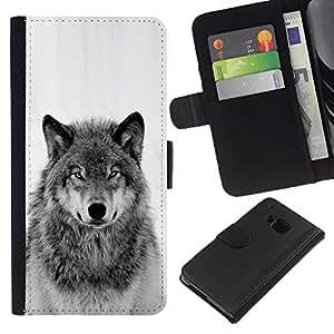 KingStore / Leather Etui en cuir / HTC One M7 / Wild Wolf Howl Noir Blanc