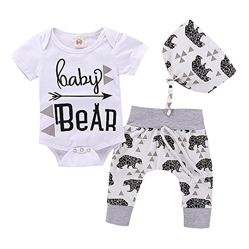 PROBABY Baby Boy Girl Clothes Baby Bear Romper Bodysuit + Bear Pants + Hat 3pcs Outfits (3-6 Months, A)