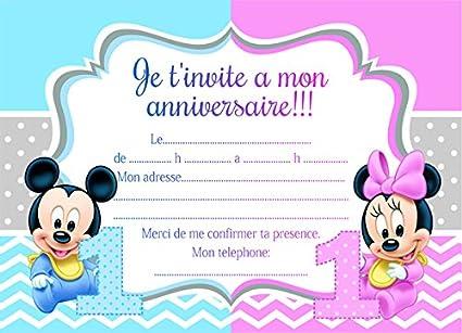 10 Tarjetas Invitación Cumpleaños Minnie Mickey Mouse