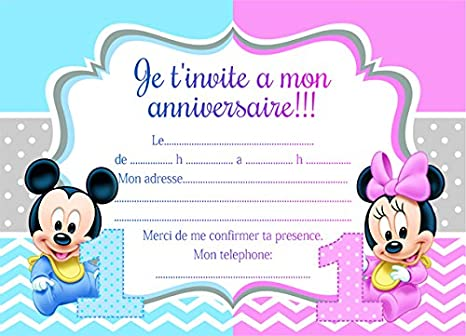 10 Cartes Invitation Anniversaire Minnie Mickey Mouse