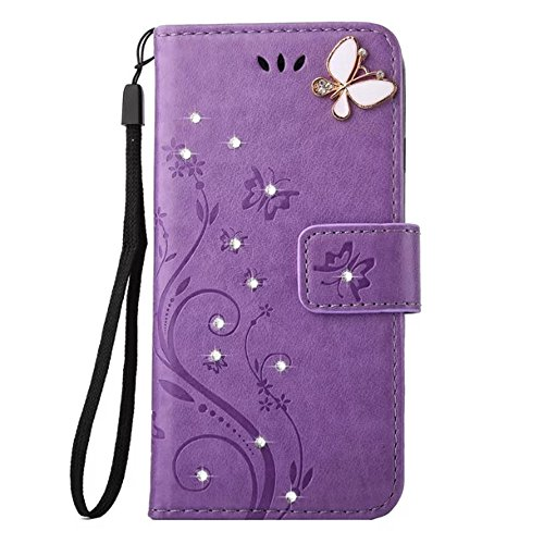 Price comparison product image Samsung Galaxy J3 2017 Wallet Case Handmade Bling Crystal Rhinestone Butterfly PU Leather Magnetic Flip Case Stand Cover with Card Holders & Hand Strap for Samsung Galaxy J3 Emerge (Light Purple)
