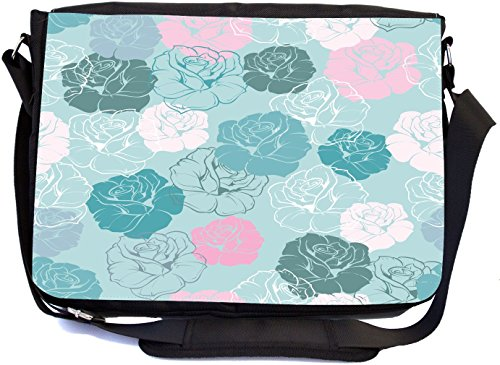 Rikki Knight Turquoise Pink Flowers Seamless Design Design Multifunctional Messenger Bag - School Bag - Laptop Bag - with Padded Insert for School or Work - Includes Matching Compact Mirror