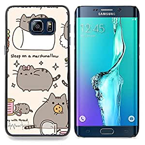 - Pussy Cat Grey Sleep Marshmallow Play - Caja del tel????fono delgado Guardia Armor- For Samsung Galaxy S6 Edge Plus Devil Case