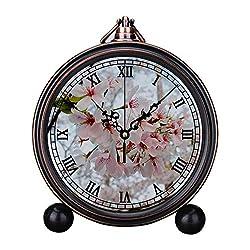 Retro Innovative Student Clock Alarm Clock Table Iron Decoration Desktop Clock Round Needle Cherry Blossom Close up Photo
