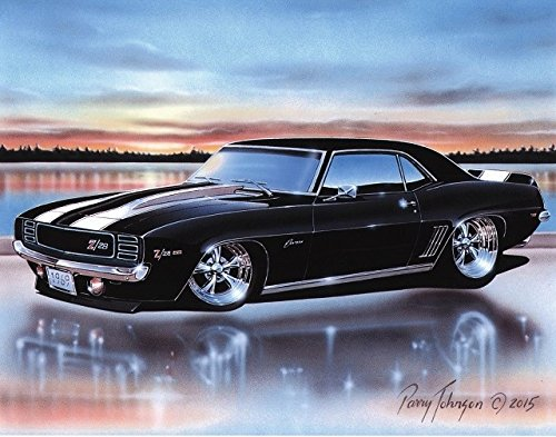 1969 Chevy Camaro RS Z28 Coupe Muscle Car Art Print Black 11x14 ()
