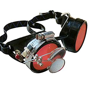 Steampunk Victorian Style Goggles with Vintage Design and Double Clip on eye Loupe