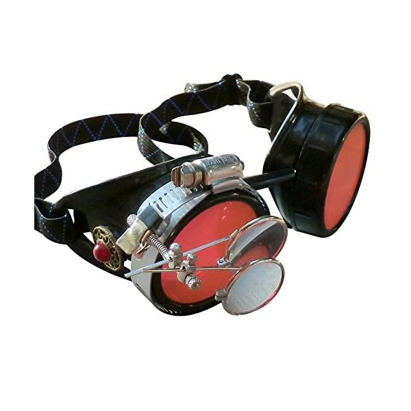 Steampunk Victorian Style Goggles with Vintage Design and Double Clip on eye Loupe 3