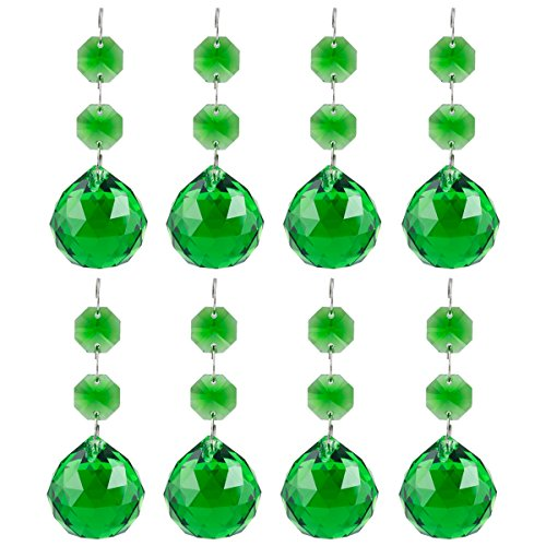 Green Rainbow Crystal (SUNYIK Green Crystal Ball Drop Prism Ornaments,Healing Chakra,Suncatcher,Rainbow Maker,Decoration,Pack of 10)