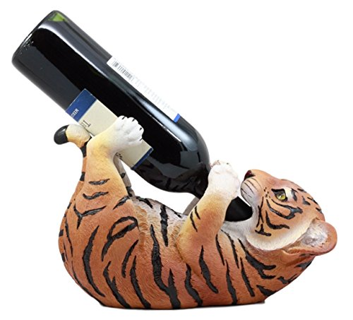 Ebros Gift Thirsty Baby Bengal Tiger Cub Wine Bottle Holder Figurine 10