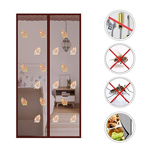 (Magnetic Screen Door with Magnets, Reinforced Magnet with Full Frame Velcro, Embroidered Leaves Heavy Duty Mesh Curtain Keep Bugs Out Fits Door Size up)