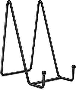Mocoosy 6 Inch Display Stands for Plate - Black Iron Easel Plate Holder Display Stands Metal Frame Holders for Photo, Pictures, Decorative Plate Dish and Tabletop Art 2 Pack