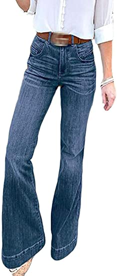 FRPE Womens Denim Pants High Waist Wide Leg Full Length Bell Bottom Jeans Denim Pants