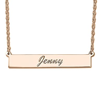 Amazon.com  Women s Personalized Engraved Cursive Script Font Nameplate  Necklace Bar Pendant in 14k Rose Gold  Jewelry 3760e380b