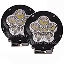 "Lightronic 2PCS 5"" 90W Round Led Pods Spot Light Off Road Led Lights Driving Fog Lights HeadLights Blub 4x4 Truck+Combo Cover"