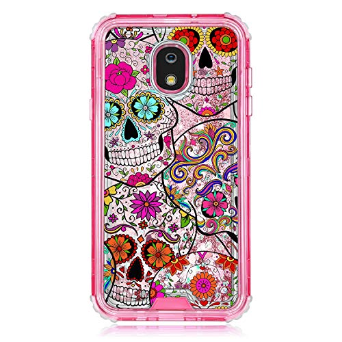 TurtleArmor   Compatible for Samsung Galaxy J7 (2018) Case   J737   Pink Fitted Dual Layer TPU Bumper Case with Flowing Liquid Waterfall Quicksand Glitter Sparkle Bling Hearts - Sugar Skull