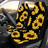 INTERESTPRINT Lovely Sunflower Front Car Seat Covers Set of 2, Universal fit for Vehicle, Cars, Sedan, Truck, SUV, Van