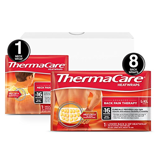 ThermaCare Advanced Back Pain (L-XL Size) and Neck Pain Combo Pack (8 Back Wraps, 1 Neck Wrap) Heatwraps, Up to 16 Hours of Pain Relief, Lower Back & Hip Use, -