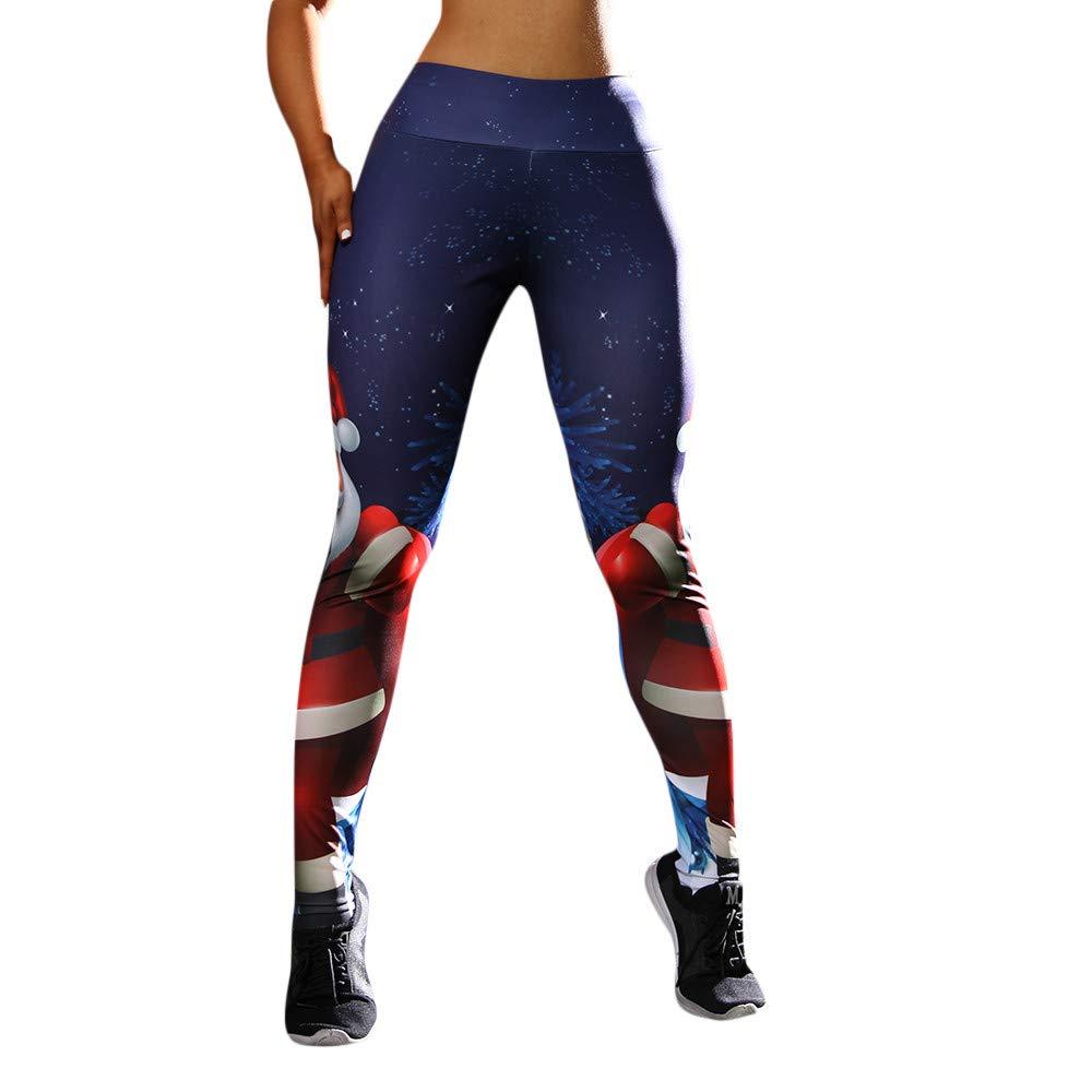Hattfart Women's Christmas Digital Print High Waist Ankle Leggings Skinny Active Yoga Pants (S, Blue)
