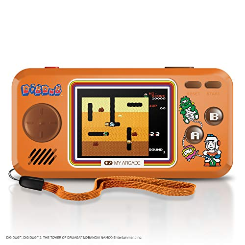 My Arcade Dig Dug Pocket Player - 8-Bit Portable Handheld Retro Gaming System - Includes 3 Games - Dig Dug, Dig Dug II, and The Tower of Druaga - Licensed Collectible